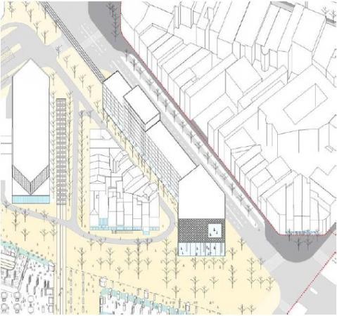 Projet Jamar, extrait du projet urbain pour transformer le quartier de la gare du Midi